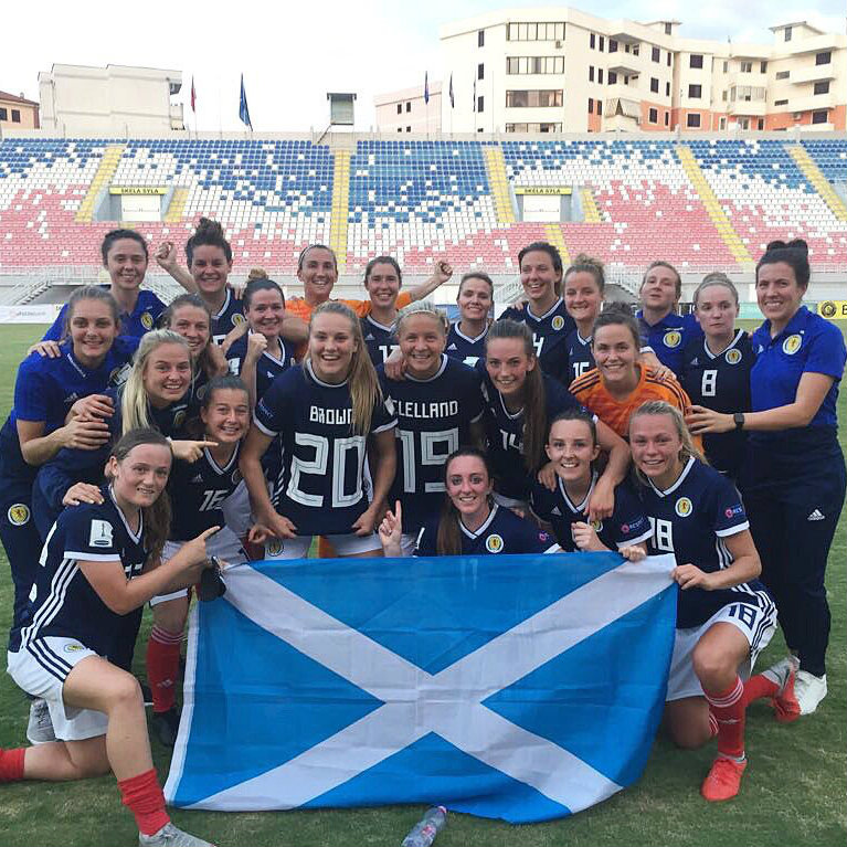 Scotland beat Albania 2-1 to qualify for its first ever FIFA Women's World Cup.