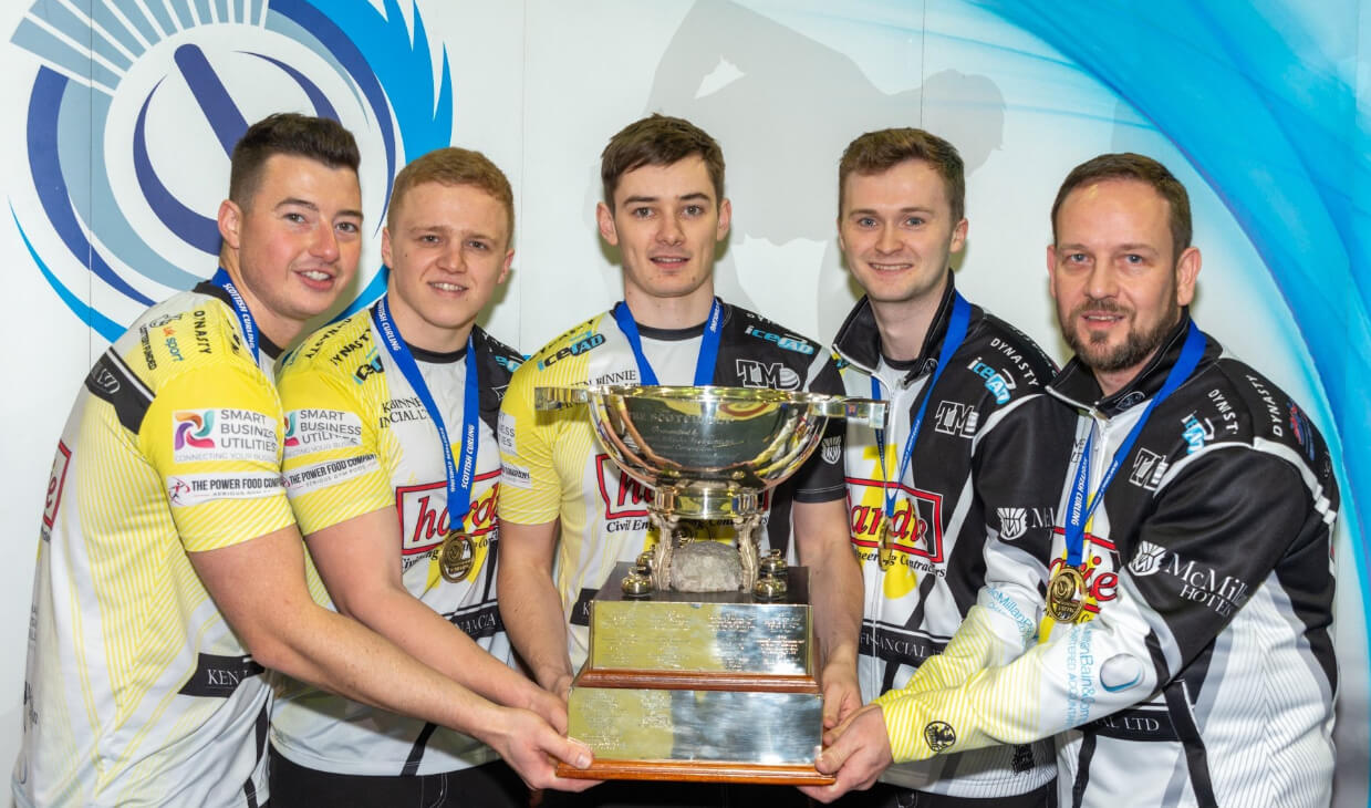 Team Mouat with men's Scottish Curling Championship trophy